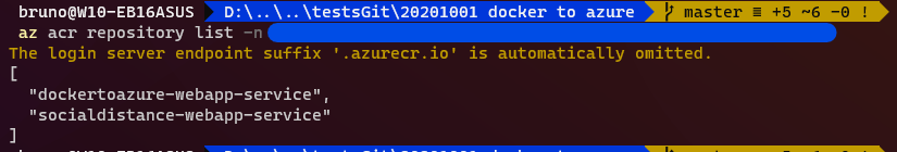 docker to azure list azure container registry repositories