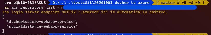 docker to azure list azure container registry repositories