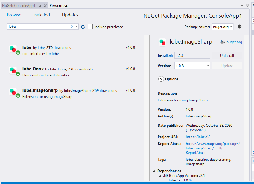 lobe 100 install nuget packages
