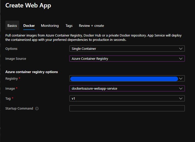 new web app docker image details