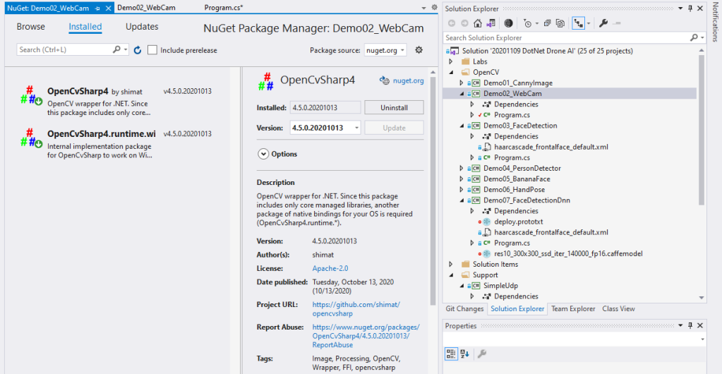 opencvsharp nuget packages