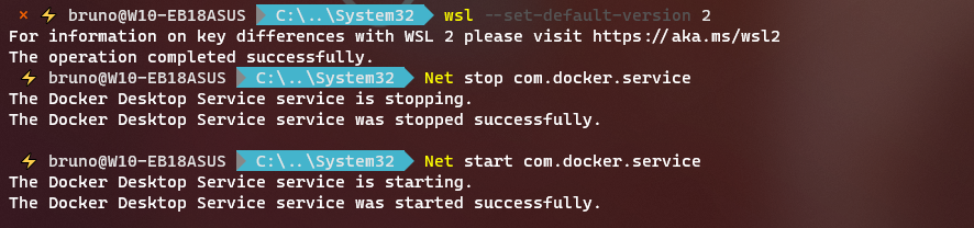 docker windows 10 set WSL2 as current version