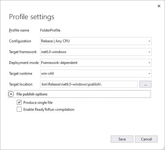 publish profile settings for single file