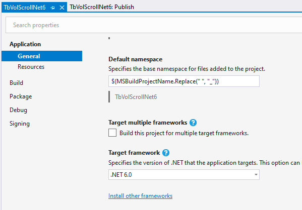 vs2019 project target framework net 6 preview 1