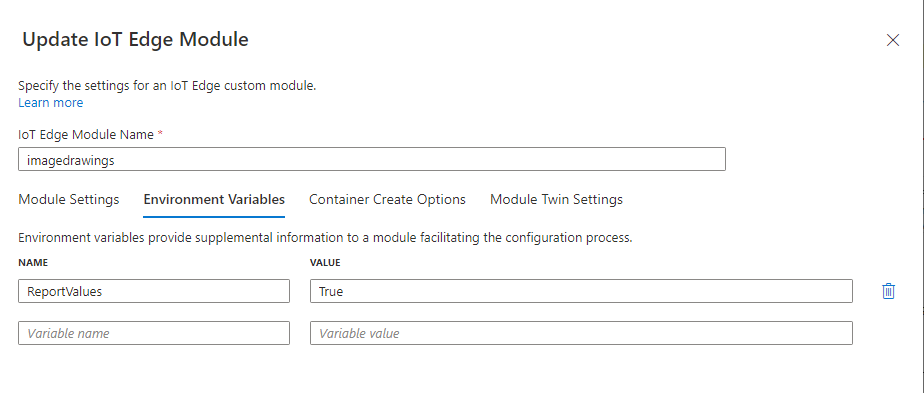 Add environment variable to the Azure IoT Module to define if the module will trigger messages