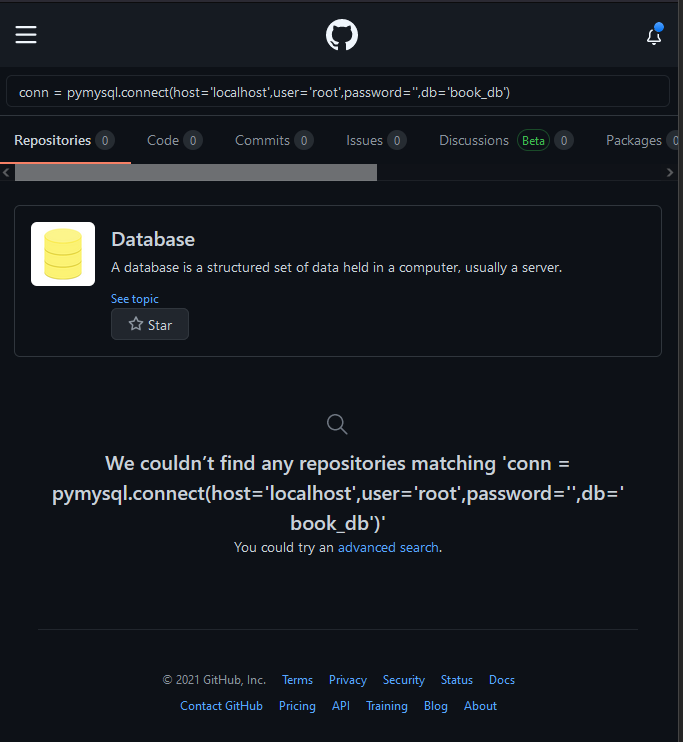 copilot search from db credentials in github no results