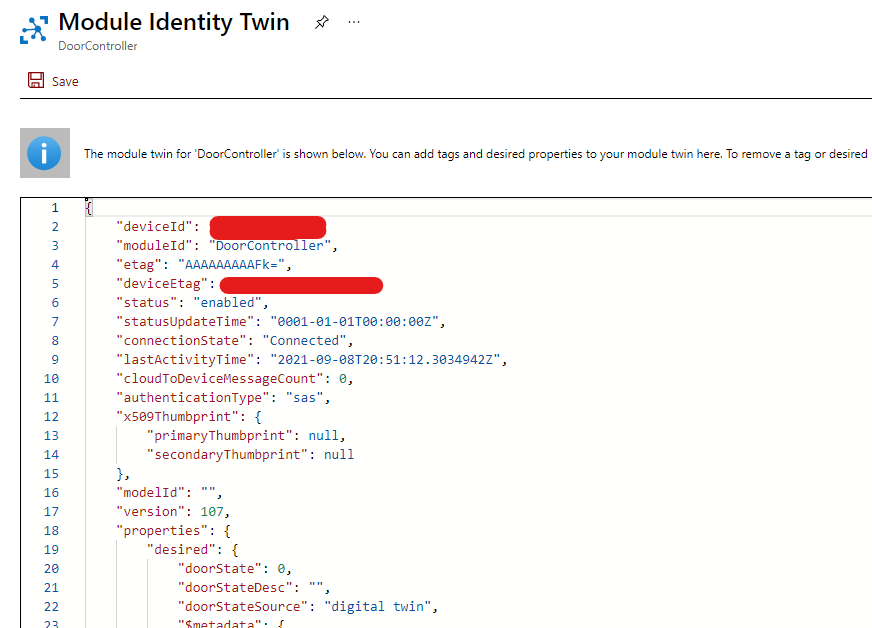 azure iot twin properties as part of the module