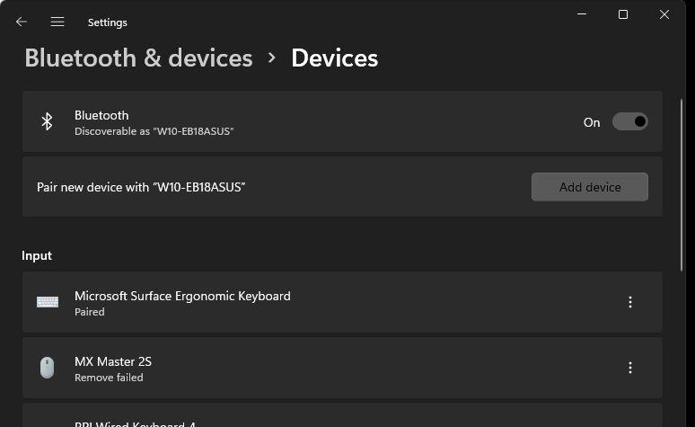 device mouse remove failed