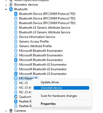 uninstall mouse from device manager
